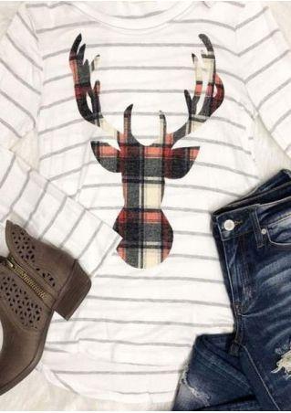 Striped Plaid Reindeer O-Neck T-Shirt
