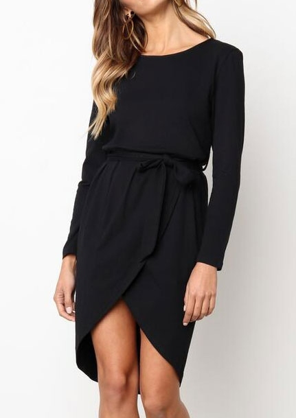 Solid Asymmetric O-Neck Casual Dress