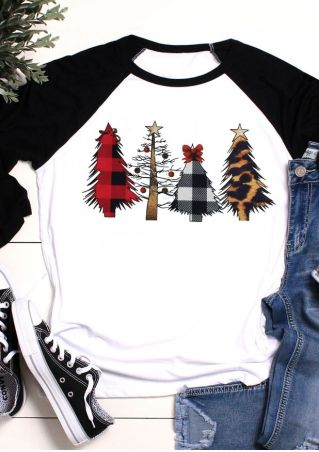 Christmas Tree Leopard Printed Baseball T-Shirt