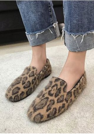 Leopard Printed Round Toe Flats