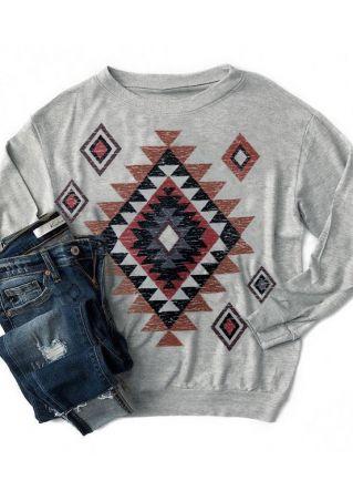 Geometric Printed Long Sleeve T-Shirt