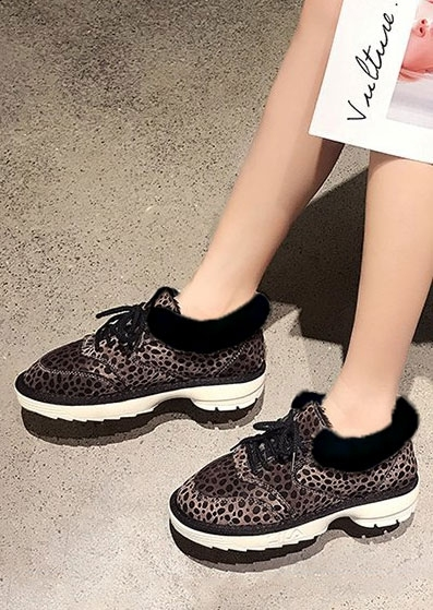 Leopard Printed Faux Fur Sneakers