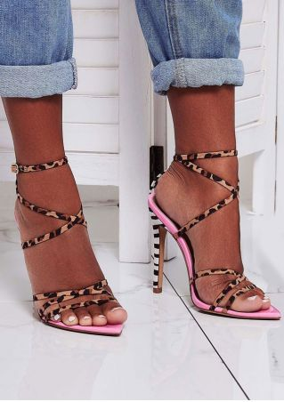 Leopard Printed Cross Heeled Sandals