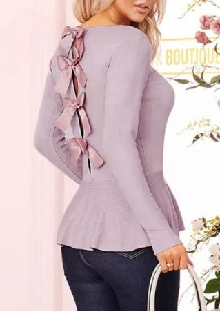 Solid Tie Flouncing O-Neck Blouse