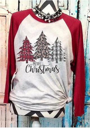 Merry Christmas Tree Baseball T-Shirt