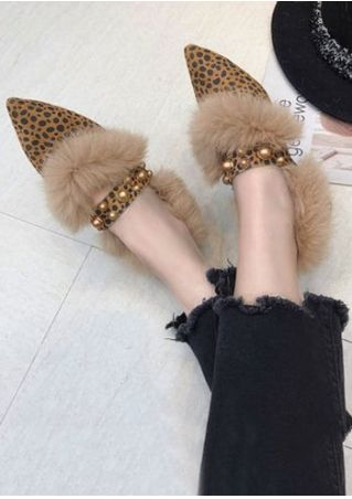 Leopard Printed Beading Faux Fur Flats