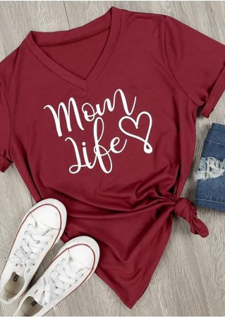 Mom Life Heart V-Neck T-Shirt