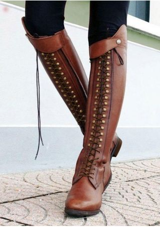 Vintage Rivet Knee High Boots