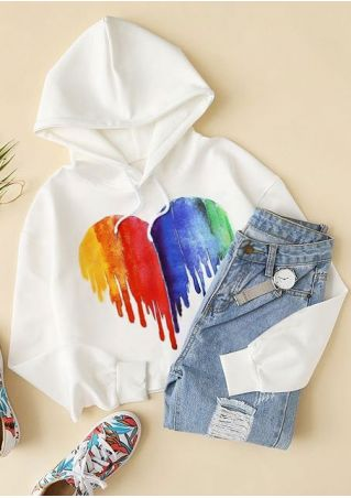 Heart Multicolor Long Sleeve Hoodie
