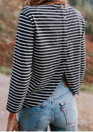 Striped Asymmetric Button O-Neck Blouse
