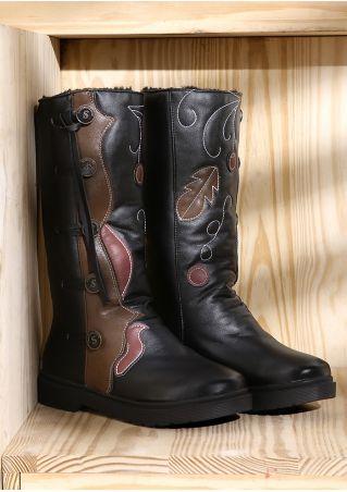 Vine Leaf Buckle Flat Boots