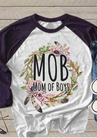 Mom Of Boys Floral Baseball T-Shirt
