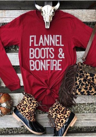 Flannel Boots & Bonfire O-Neck T-Shirt