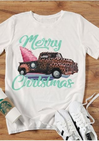Merry Christmas Leopard Printed Car T-Shirt