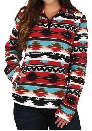 Striped Geometric Multicolor Zipper Sweatshirt