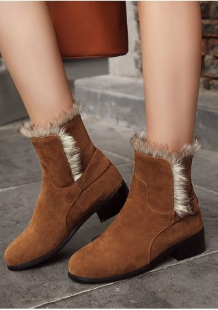 Faux Fur Buckle Ankle Boots