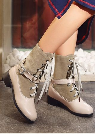 Splicing Lace Up Buckle Boots