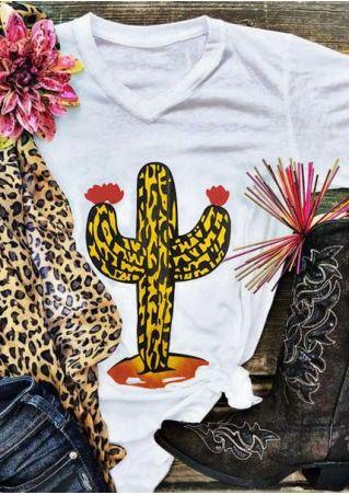 Leopard Printed Cactus Floral T-Shirt