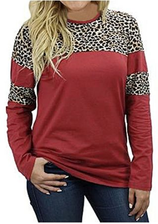 Leopard Printed Splicing O-Neck T-Shirt