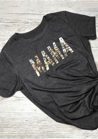 Mama Leopard Printed O-Neck T-Shirt