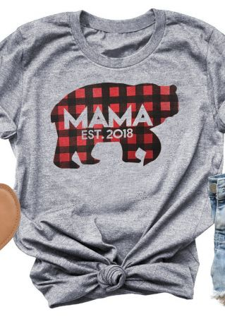 Plaid Mama Est 2018 Bear T-Shirt