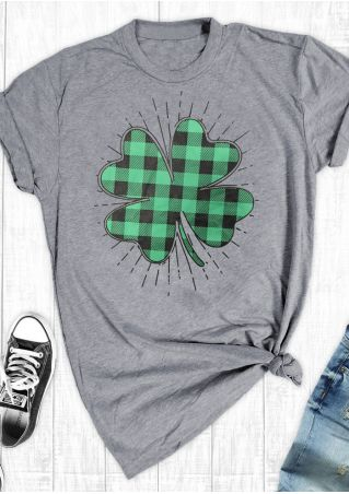 Plaid Four-Leaf Clover T-Shirt