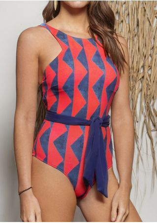 Geometric Pinted Tie Swimsuit