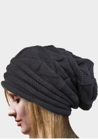 Solid Flanging Knitted Hat