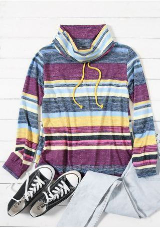Striped Multicolor Cowl Neck Drawstring Blouse