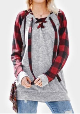 Buffalo Plaid Lace Up Hoodie