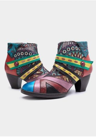 Leather Ethnic Printed Zipper Ankle Boots