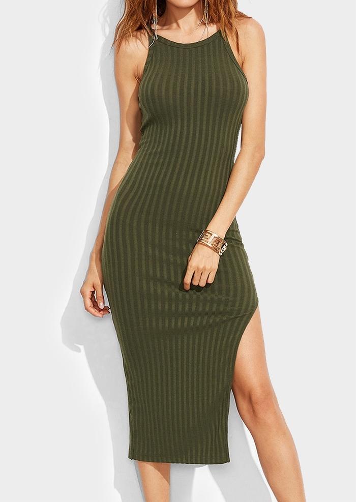Solid Side Slit Bodycon Dress