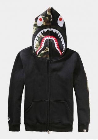 Camouflage Shark Zipper Casual Hoodie