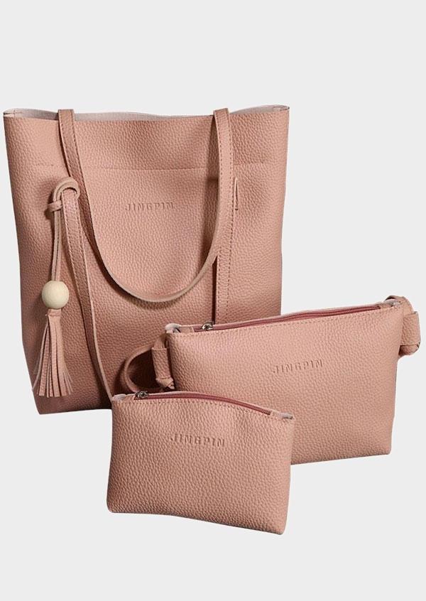3Pcs Solid Bead Handbag Wallet Cosmetic Bag Set