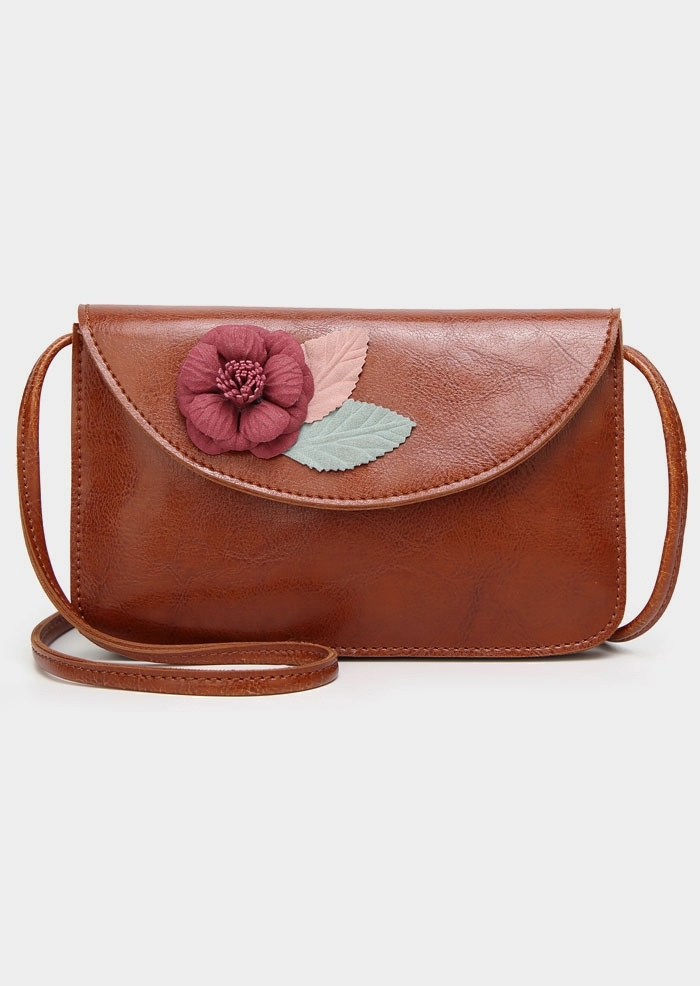 Applique PU Adjustable Strap Crossbody Bag