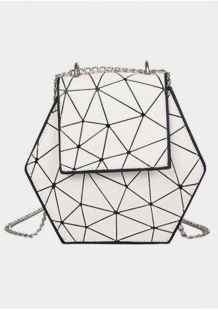 Geometric Chain PU Crossbody Bag