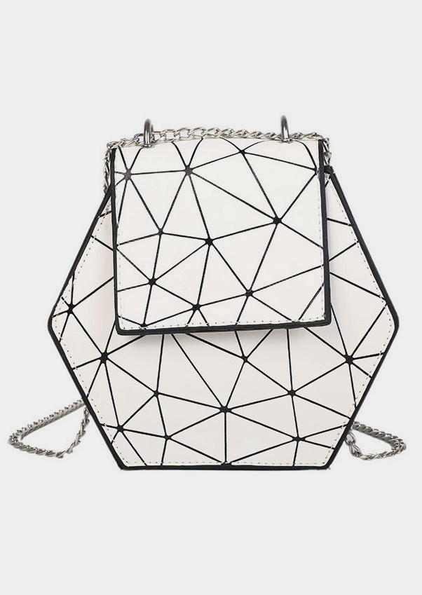 Geometric Chain PU Crossbody Bag