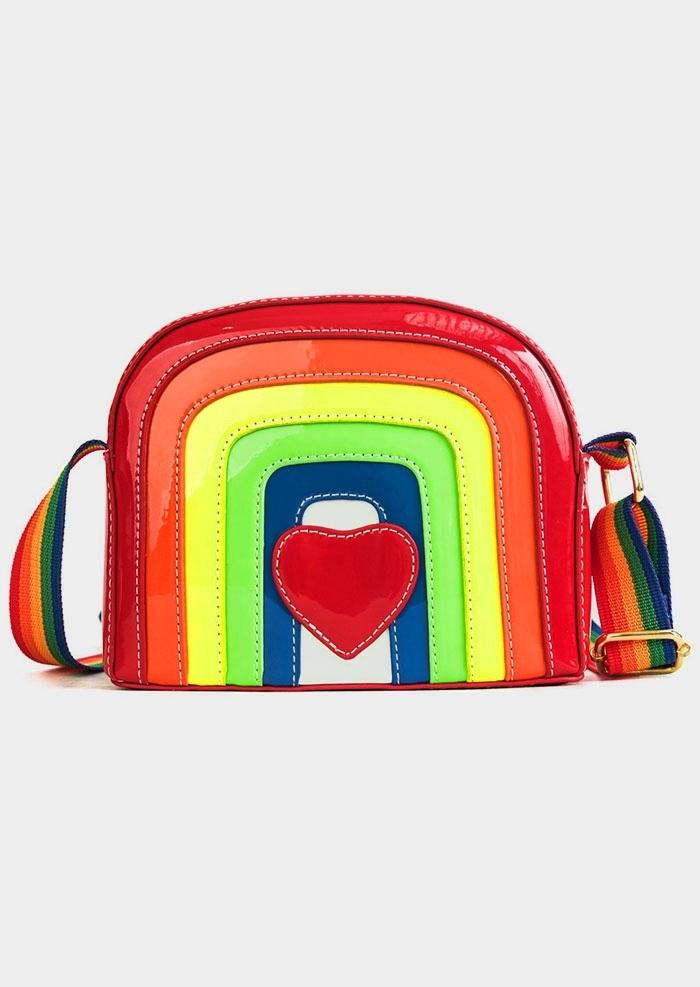 Rainbow Heart PU Crossbody Bag
