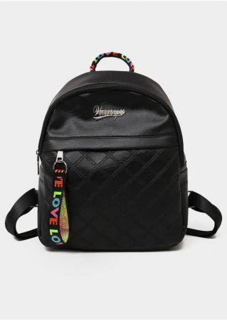 Love Argyle PU Adjustable Strap Backpack