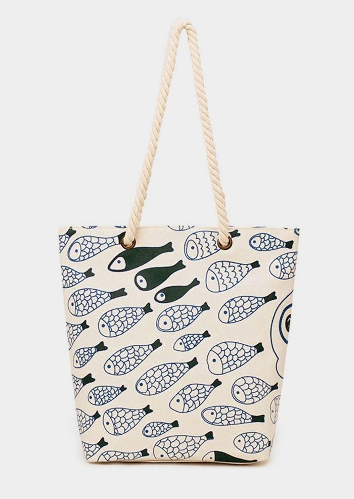 Fish Canvas Zipper Handbag Shoulder Bag