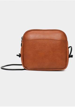 Solid PU Zipper Crossbody Bag Shoulder Bag