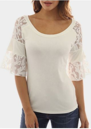 Solid Lace Floral Half Sleeve Blouse