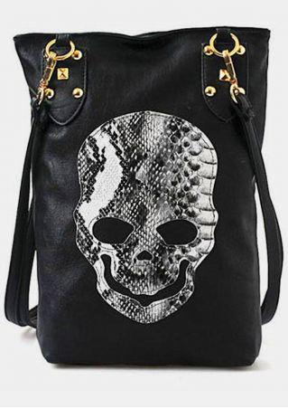 Skull PU Zipper Crossbody Bag
