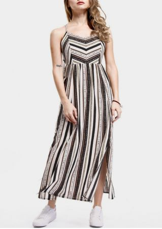 Striped Slit Lace Up Maxi Dress