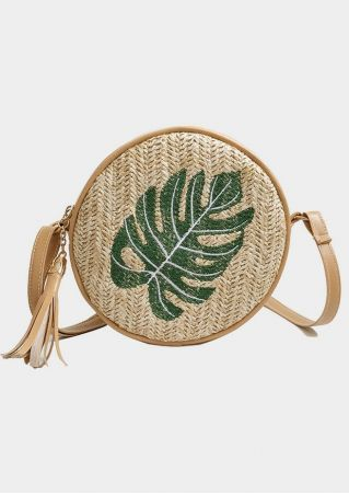Leaf Straw Tassel Crossbody Bag