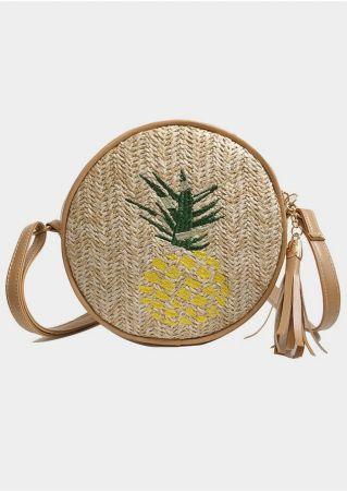 Pineapple Straw Tassel Crossbody Bag