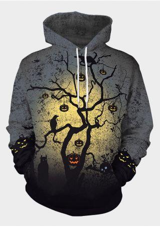 Halloween Unisex Pumpkin Face Branch Hoodie