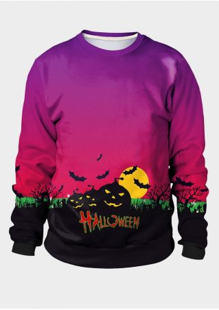 Halloween Unisex Pumpkin Face Bat Sweatshirt