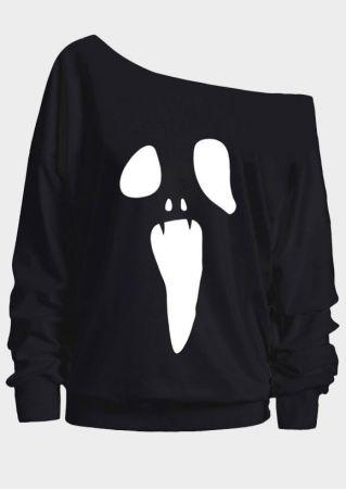 Halloween Ghost One Shoulder Sweatshirt