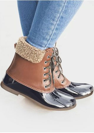 Splicing Waterproof Lace Up Duck Boots